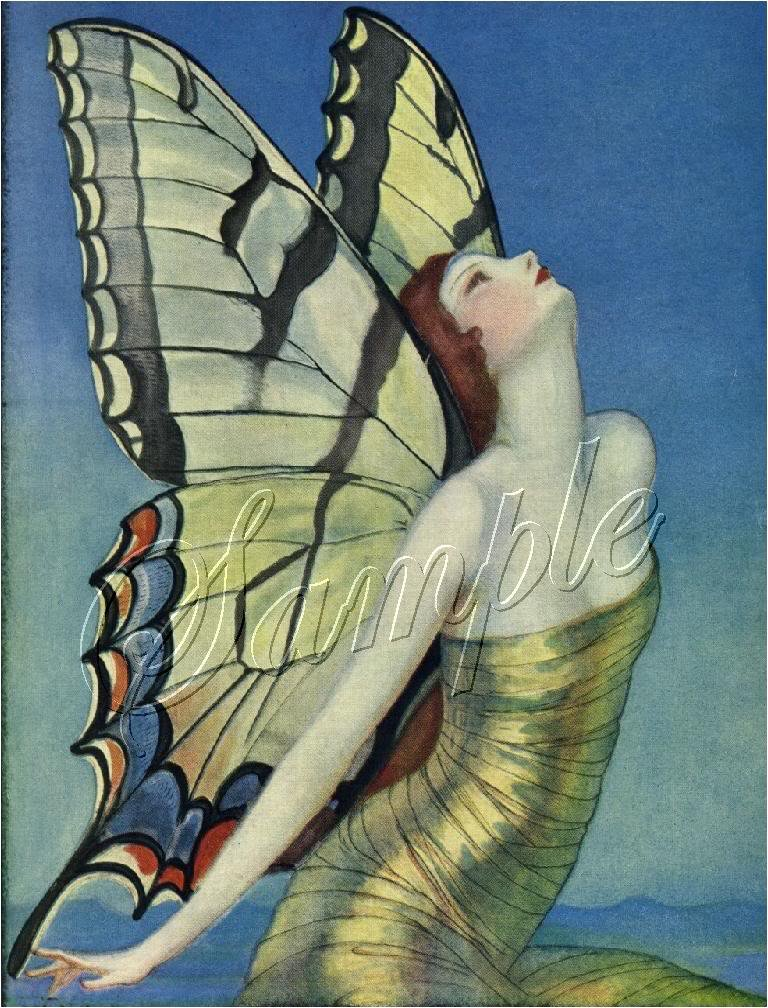 ART DECO GIRL BUTTERFLY LADY WINGS CANVAS ART PRINT BIG