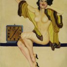 VINTAGE RISQUE PIN-UP GIRL CLOCK CANVAS ART PRINT LARGE