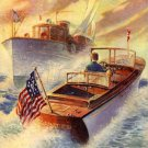 VINTAGE CHRIS CRAFT BOAT CRUISER SHIP CANVAS ART PRINT