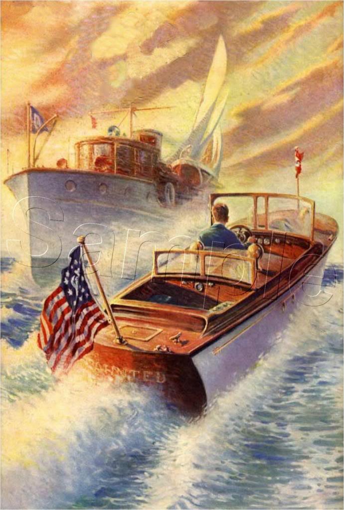 VINTAGE CHRIS CRAFT BOAT CRUISER SHIP CANVAS ART LARGE