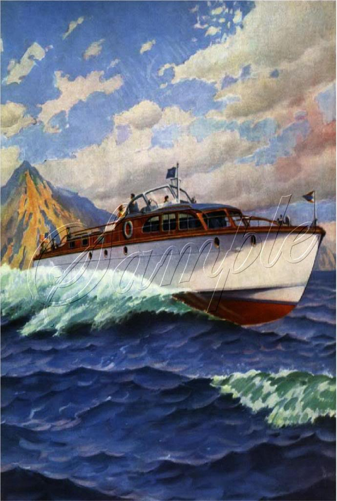 VINTAGE CHRIS CRAFT PLEASURE BOAT CANVAS ART PRINT -BIG