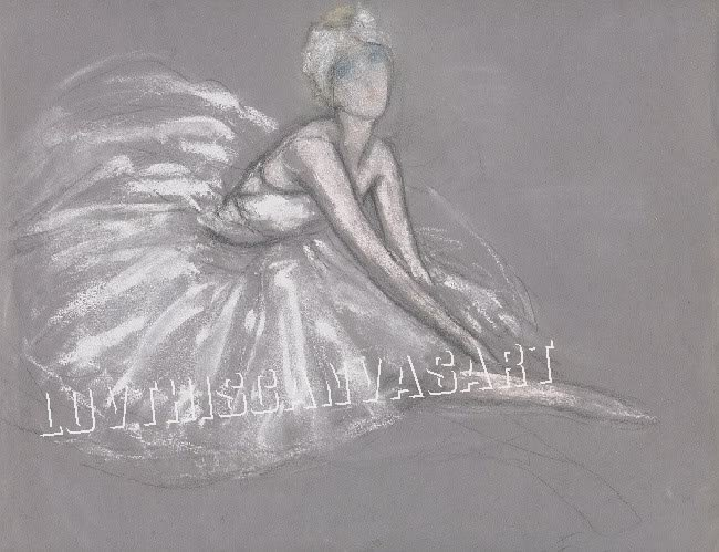 VINTAGE FRENCH BALLET DANCE SKETCH CANVAS ART PRINT