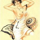 VINTAGE FRENCH FLAPPER GIRL RISQUE CANVAS ART PRINT