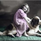 ANTIQUE CHILD ST.BERNARD DOG 2 PHOTO CANVAS PRINT-LARGE
