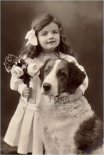 VINTAGE GIRL ST.BERNARD DOG PHOTO CANVAS ART PRINT-BIG