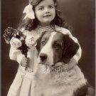 VINTAGE GIRL ST.BERNARD DOG PHOTO CANVAS ART PRINT-BIG