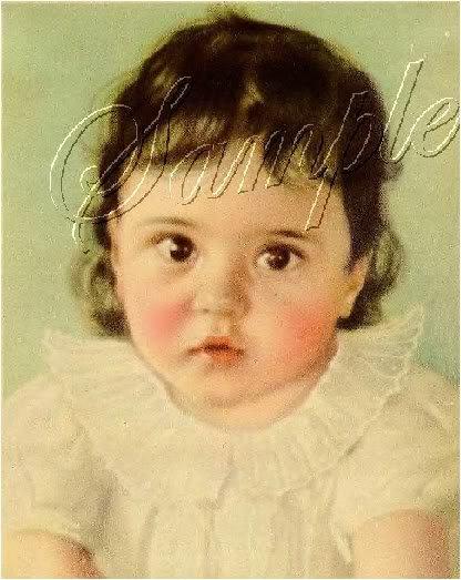 VINTAGE DIONNE QUINTUPLET MARIE BABY CANVAS ART BIG