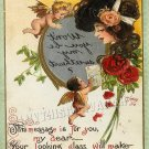 VICTORIAN VALENTINE CARD CUPID REFLECTION CANVAS  PRINT