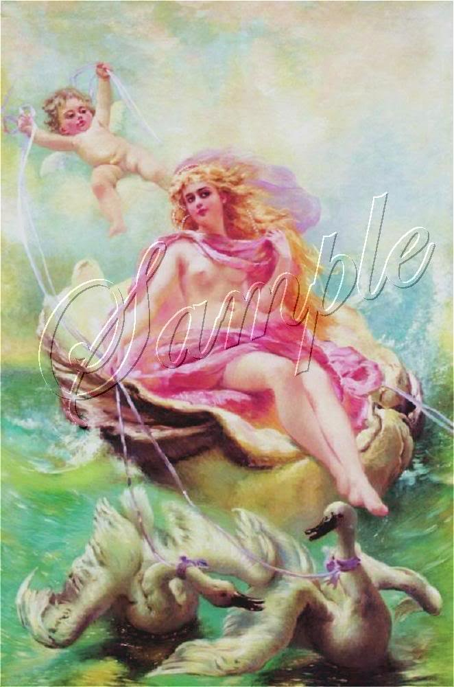 VINTAGE WATER NYMPH GODDESS CHERUB SWANS CANVAS PRINT