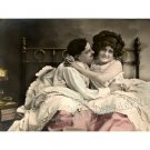 FRENCH RISQUE LOVERS KISS ROMANCE BED CHIC CANVAS PRINT