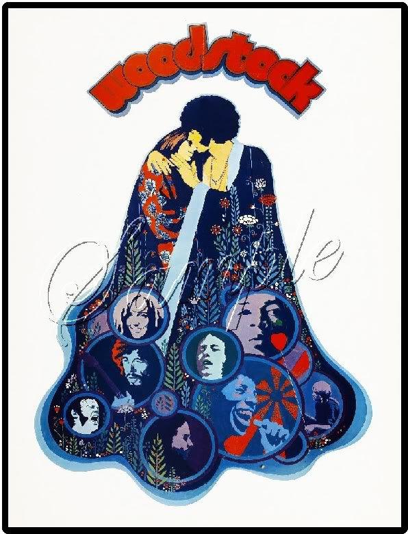1969 WOODSTOCK FESTIVAL MUSIC LOVE PEACE CANVAS ART BIG