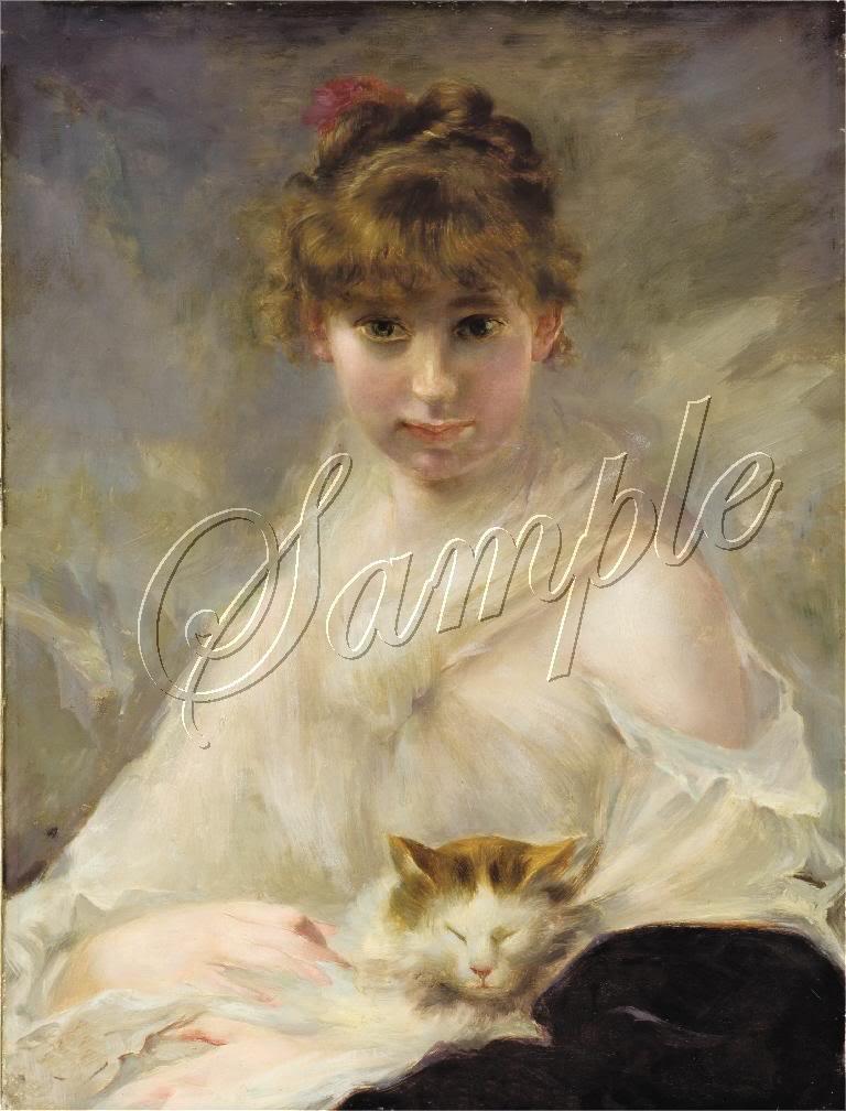 VICTORIAN GIRL CAT FELINE PORTRAIT CANVAS ART PRINT BIG