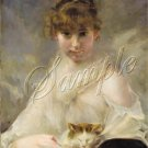 VICTORIAN GIRL CAT FELINE PORTRAIT CANVAS ART PRINT BIG