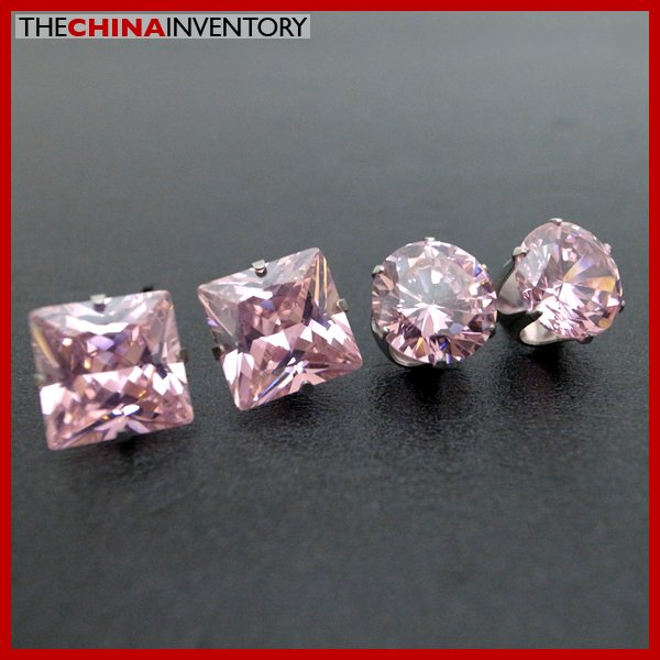 2 PAIRS STAINLESS STEEL PINK CZ STUD EARRINGS E4016A