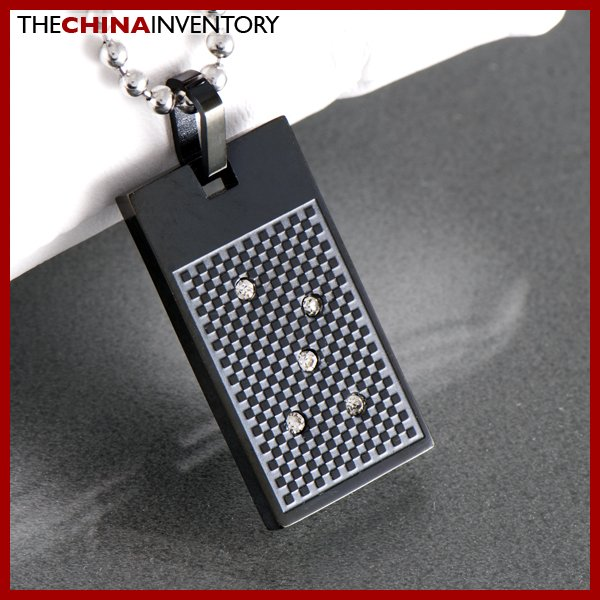 BLACK STAINLESS STEEL CHECKER BOARD PENDANT CHAIN P0336