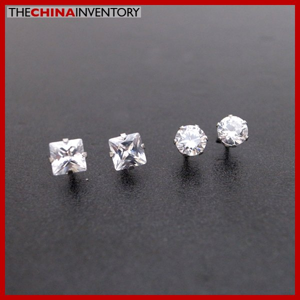 2 PAIRS STAINLESS STEEL CLEAR CZ STUD EARRINGS E4015F