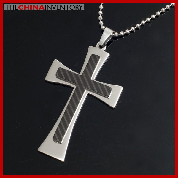 STAINLESS STEEL DOUBLE LAYER CROSS PENDANT P3907
