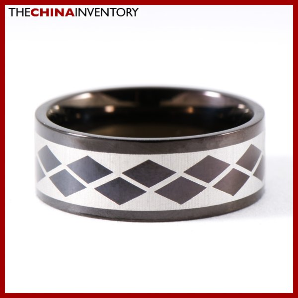 SIZE 8 BLACK STAINLESS STEEL CHECKBOARD BAND RING R0813