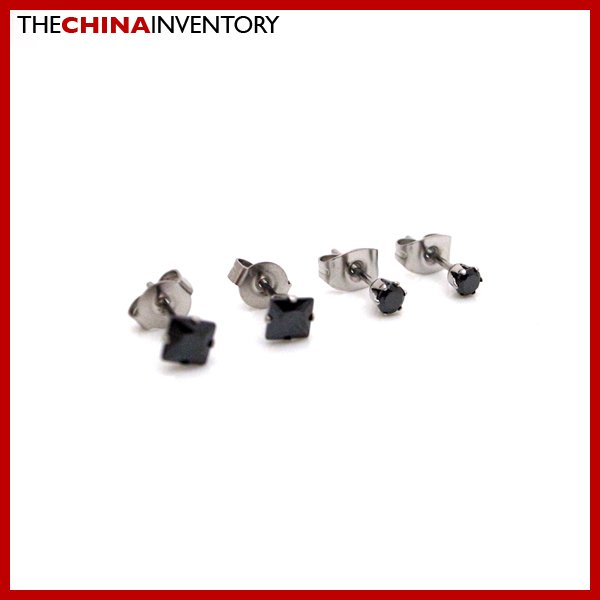 2 PAIRS STAINLESS STEEL BLACK CZ STUD EARRINGS E4017H