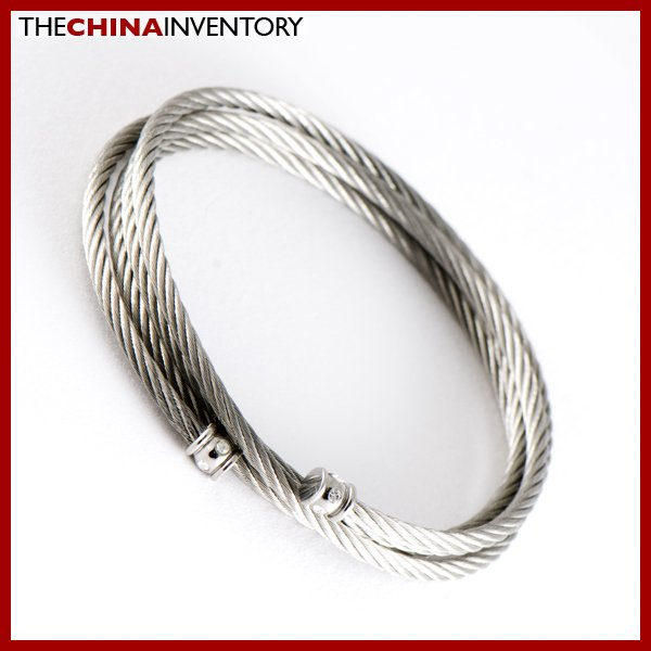 GIRLS STAINLESS STEEL CABLE ROPE BANGLE BRACELET B0365