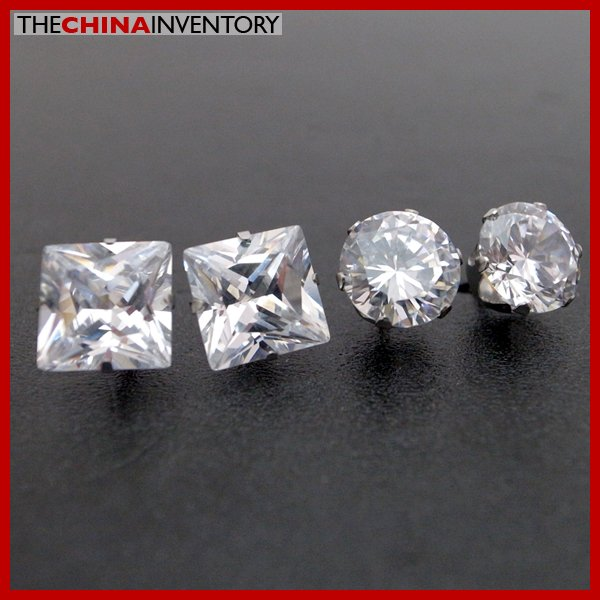 2 PAIRS STAINLESS STEEL CLEAR CZ STUD EARRINGS E4015B