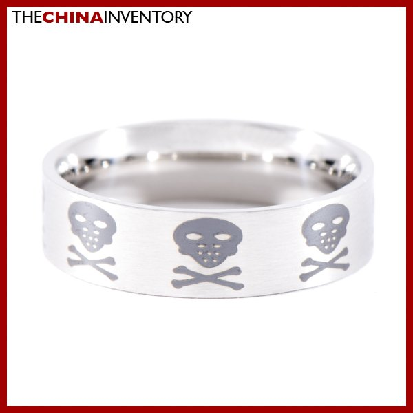 SIZE 10 STAINLESS STEEL SKULL CROSSBONE RING R0820