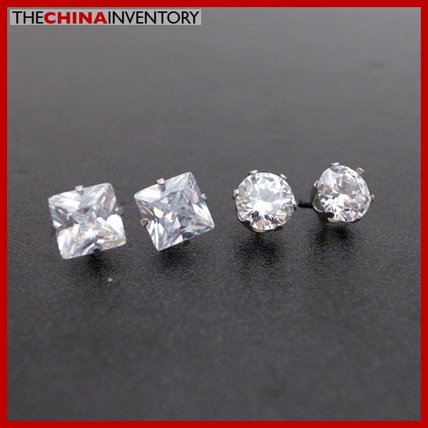 2 PAIRS STAINLESS STEEL CLEAR CZ STUD EARRINGS E4015D