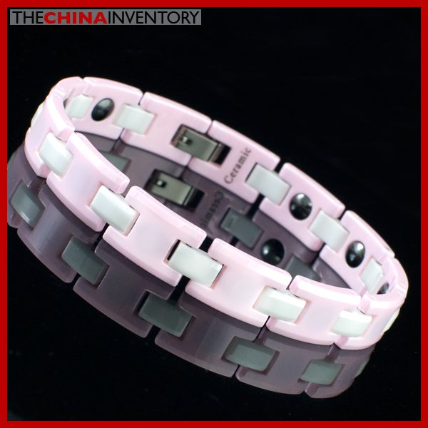 "10MM 8"""" PINK CERAMIC MAGNETIC WATCHBAND BRACELET B2204"