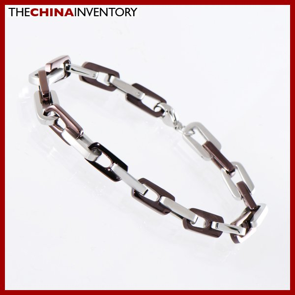 "8"""" STAINLESS STEEL TWO TONE CHAIN BRACELET B1413A"