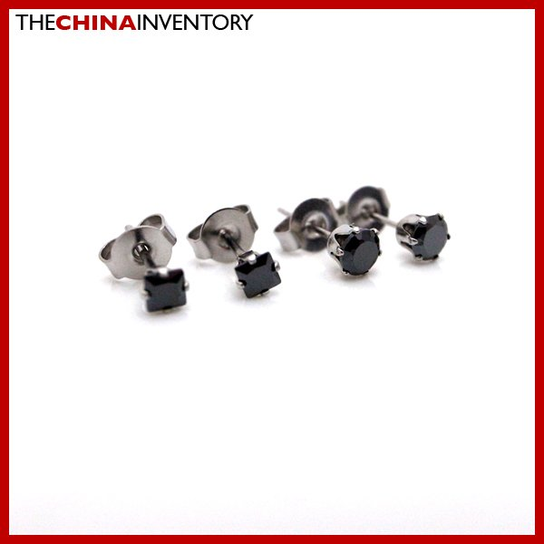 2 PAIRS STAINLESS STEEL BLACK CZ STUD EARRINGS E4017G