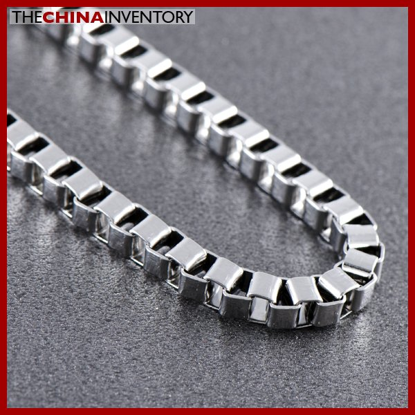 "4MM 22"""" STAINLESS STEEL BOX CHAIN NECKLACE N0513"