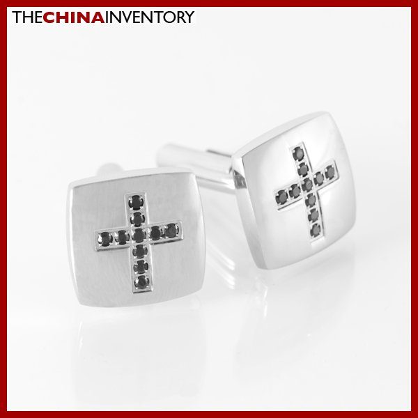 MEN'S STAINLESS STEEL CZ CROSS CUFFLINKS C1511B