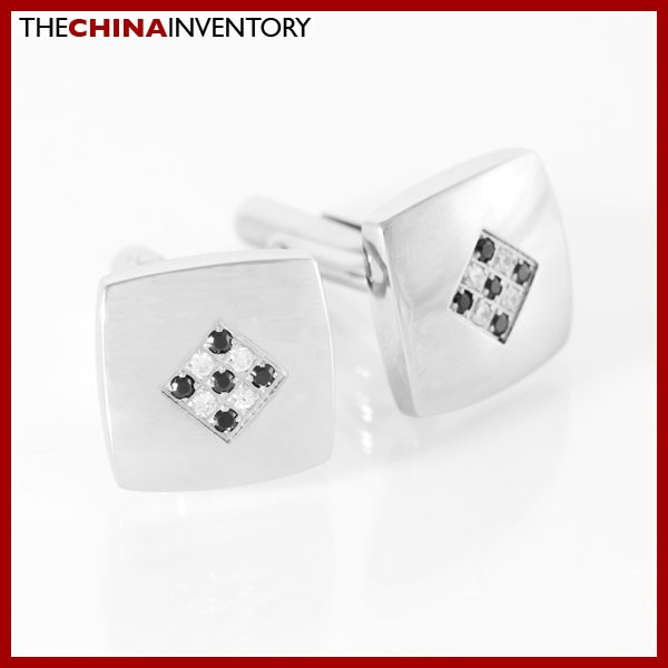 MEN'S STAINLESS STEEL SQUARE CZ CUFFLINKS C1512A