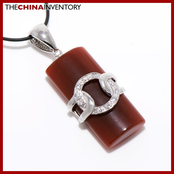 925 STERLING SILVER CZ AGATE TAG PENDANT SIL1119