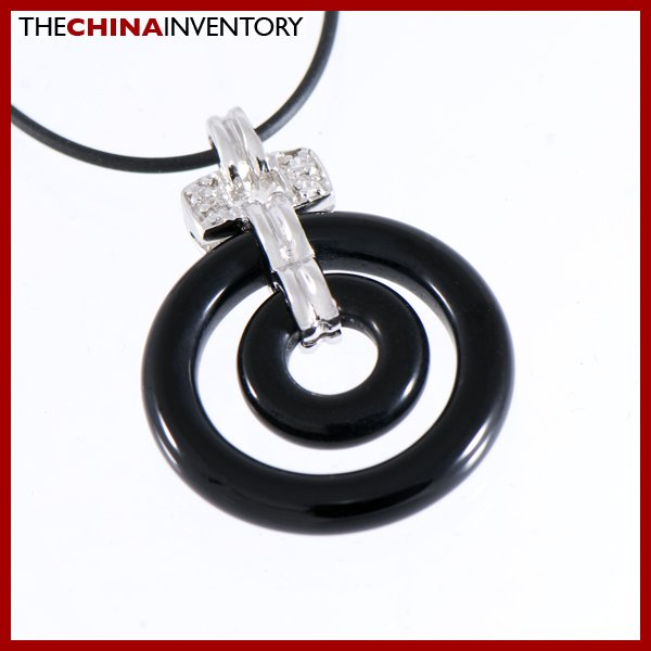 925 SILVER CROSS BAIL BLACK ONYX PENDANT NECKLACE SIL1102