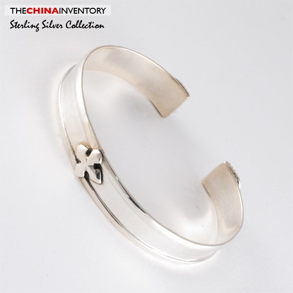 925 STERLING SILVER CROSS BANGLE BRACELET SIL0358