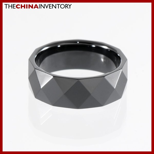 8MM SIZE 10 BLACK CERAMIC FACETED BAND RING R0902B