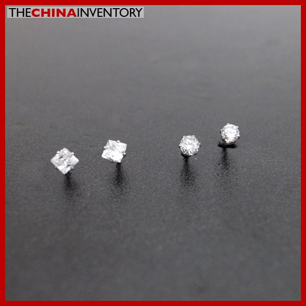 2 PAIRS STAINLESS STEEL CZ STUD EARRINGS E4015H