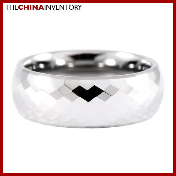 7.5MM SIZE 9 FACETED TUNGSTEN CARBIDE BAND RING R0910