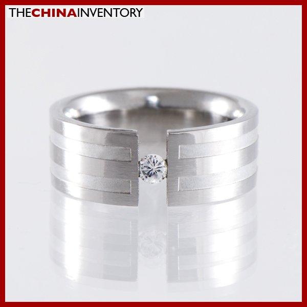 8MM SIZE 7 STAINLESS STEEL CZ BAND RING R1216