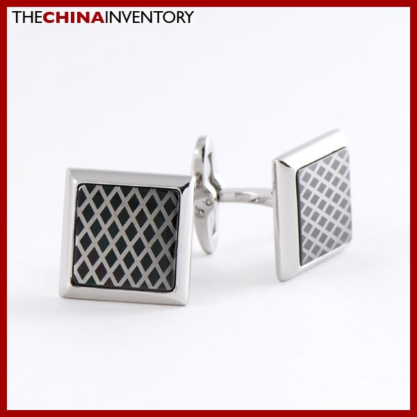 STAINLESS STEEL SQUARE CHECKBOARD CUFFLINKS C0802