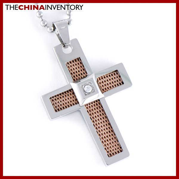 STAINLESS STEEL FILIGREE CROSS PENDANT NECKLACE P0351B
