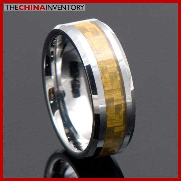 SIZE 8 GOLD CARBON FIBER TUNGSTEN CARBIDE RING R4001
