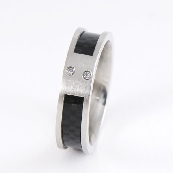 6MM SIZE 7 STAINLESS STEEL CARBON FIBER BAND RING R0712