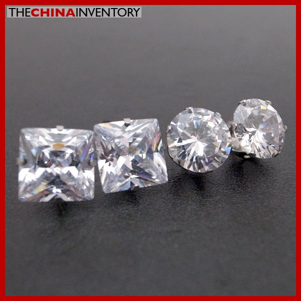 2 PAIRS STAINLESS STEEL CLEAR CZ STUD EARRINGS E4015A