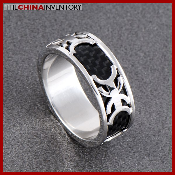 SIZE 10 STAINLESS STEEL CARBON FIBER BAND RING R0702