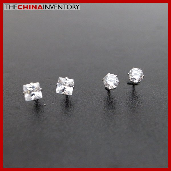 2 PAIRS STAINLESS STEEL CLEAR CZ STUD EARRINGS E4015H