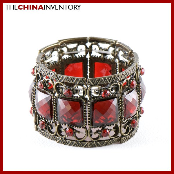 VICTORIAN STYLE BRASS RED CRYSTAL BANGLE BRACELET B0232