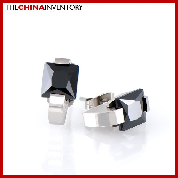 STAINLESS STEEL BLACK SQUARE CZ STUD EARRINGS E1701