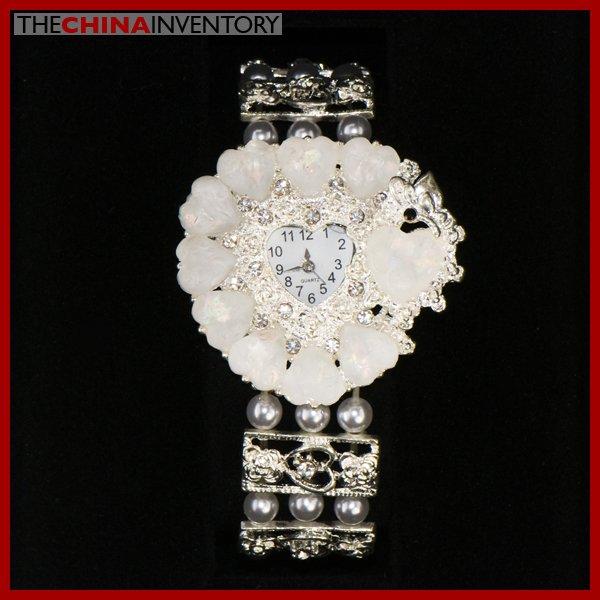 IMITATE WHITE CRYSTAL FLOWER BRACELET WATCH W0125